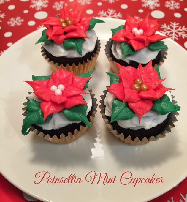 Mini Poinsettia Cupcakes for Christmas
