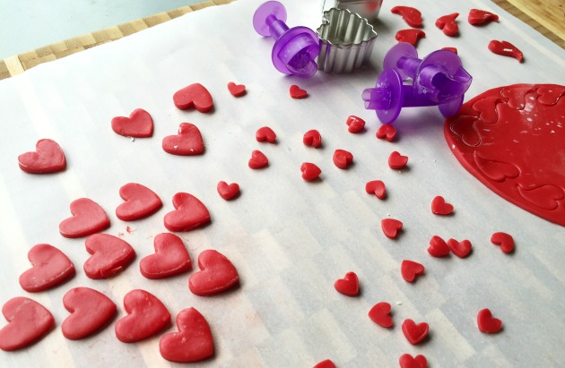 Making Candy Clay Hearts for Valentine Cupcakes