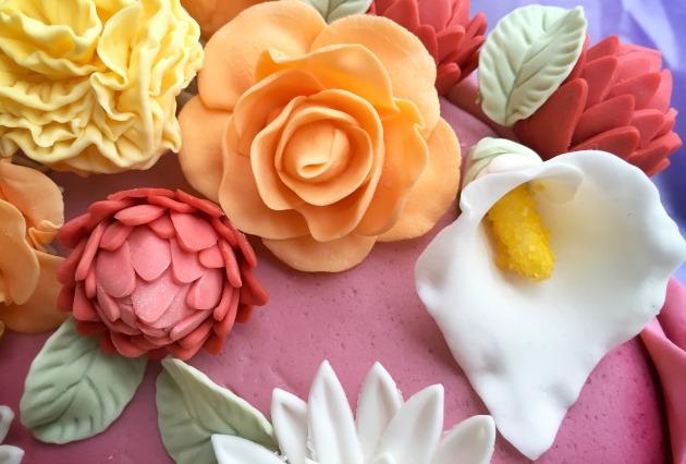 Cake 3 - Rose, Mum, Lily and Carnation