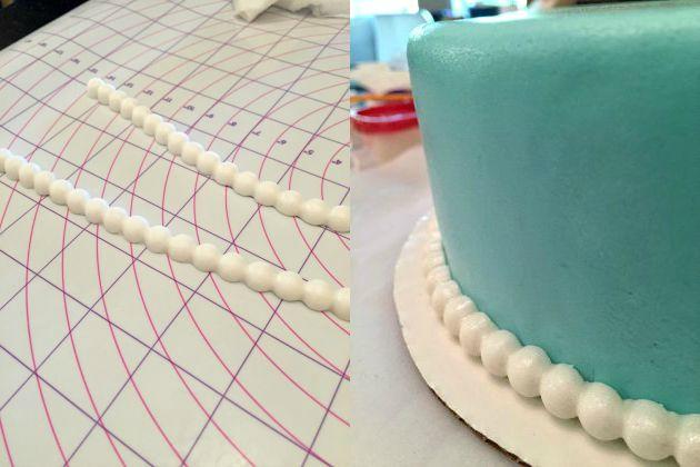 Wilton course 4 - Applying pearl border to cake