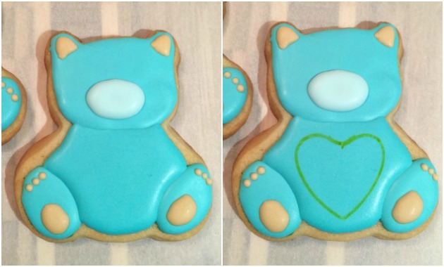 Icing the teddy bear cookies