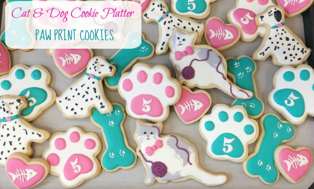 Decorated Paw Print Cookies