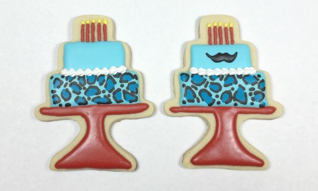 Mustache Birthday cake cookies
