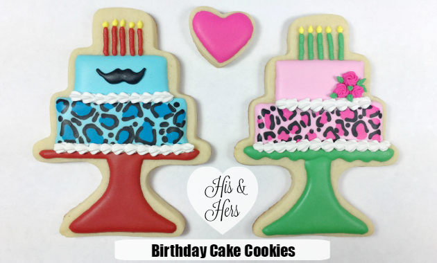 Royal Icing Decorated Birthday Cake Cookies
