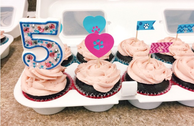 Cupcakes with Paw Print Toppers