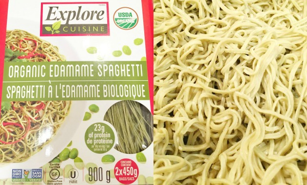 Edamame Spaghetti Noodles - boxed and cooked