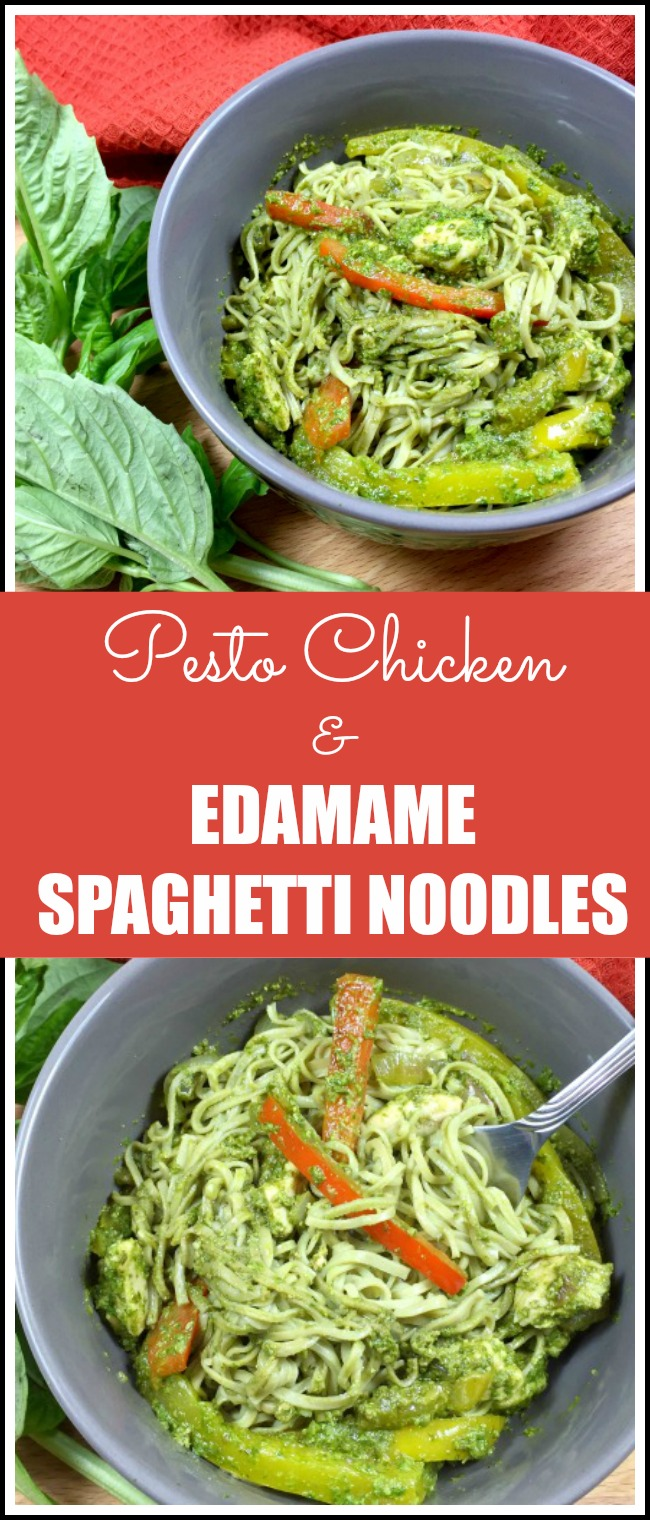 Pesto Chicken and Edamame Spaghetti Noodles