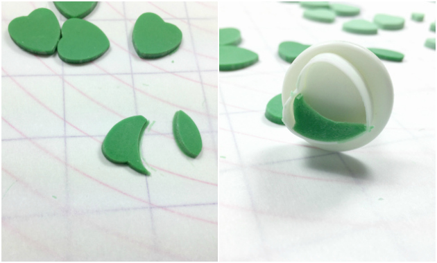 Making a four leaf clover with heart cutters 1