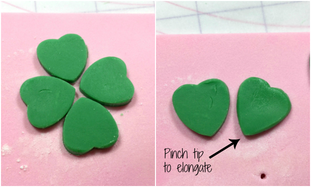 Making a four leaf clover with heart cutters 2