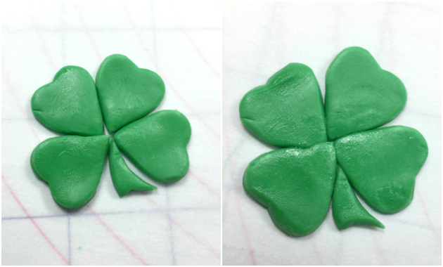 Making a four leaf clover with heart cutters 3