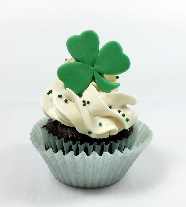 Shamrock on Irish Cream Buttercream Cupcake
