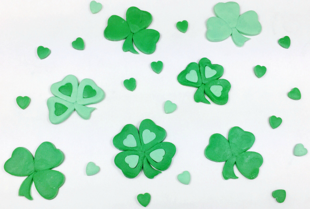 Shamrocks and four leaf clovers Made with heart cutters tutorial