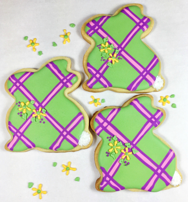 Green plaid Easter bunny cookies