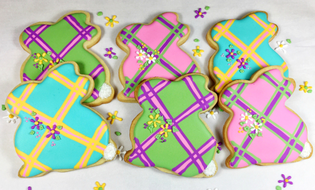 Plaid Easter Bunny Cookies royal icing decorated