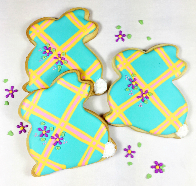 Turquoise plaid Easter bunny cookies